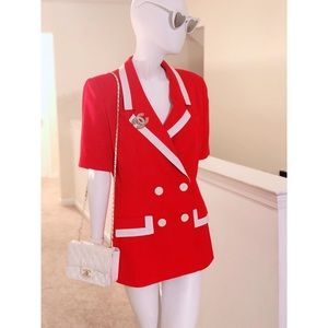 Oleg Cassini Red Double Breasted Blazer